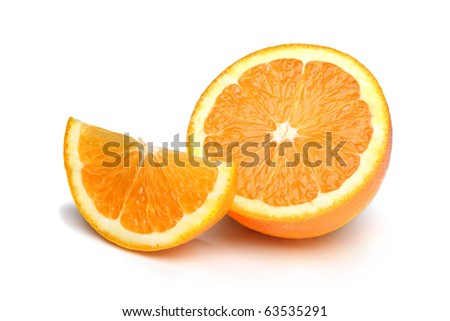 Half an orange plus slice, isolated on a white background.