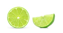 Half and slice of lime fruit isolated on white background.