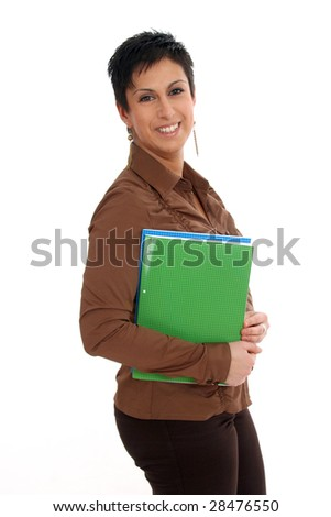Half body view of college student in casual wear, holding exercise books. Isolated on white background.