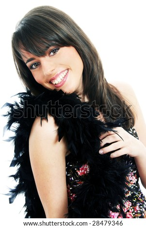 Half body view of lovely girl in casual wear with black boa. Isolated on white background.
