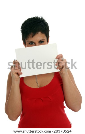 Half body view of woman holding a blank sign, with free space for custom message. Isolated on white background.