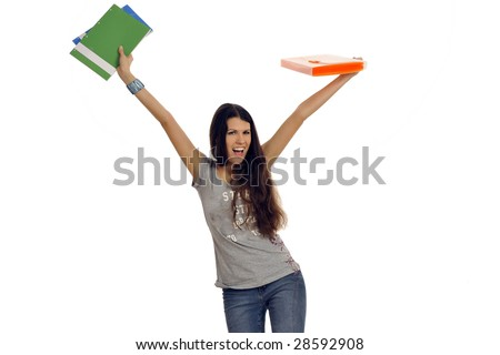 Half body view of young teacher of college student just graduated, throwing around exercisebooks. Isolated on white background.