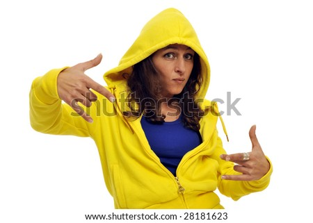 Half body view of young woman in yellow street wear, making a funky pose. Isolated on white background.