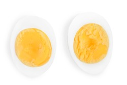 half boiled egg isolated on white background. Top view.