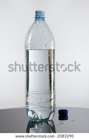 half bottle of water on glass