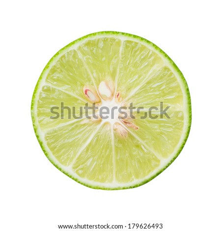 half citrus lime fruit isolated on white background with clipping path,top view #179626493