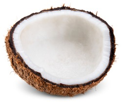 half coconut isolated on white, coconut clipping path