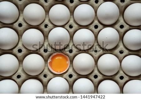 Half cracked egg in the paper egg tray. Egg yolk in egg shell. White eggs #1441947422