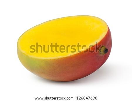 Half cut mango fruits on white background