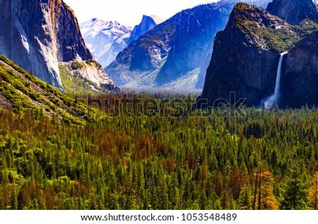Half Dome and Bridal Fall in Yosemite National Park, California
