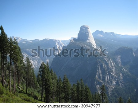Half Dome and surrounding beautiful mountain views from the Panorama Trail in Yosemite National Park, California, USA