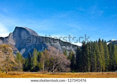 Half Dome with Moon in the Sky in Yosemite National Park,California - stock photo