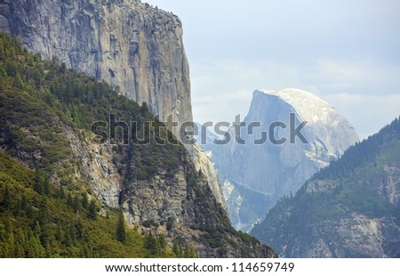Half Dome Yosemite Valley, California, USA. Yosemite National Park Landscape. Sierra Nevada Mountains.