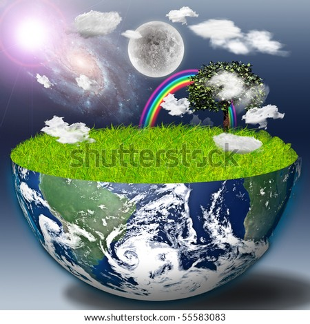 Half earth with green grass and landscape