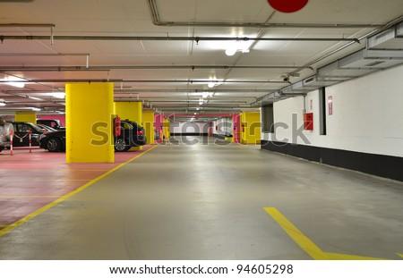 Half empty underground garage or parking