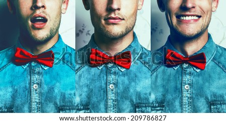Half-face emotion portrait concept. Young and handsome hipster man in blue jeans shirt and red bow-tie over vintage background in three different emotions: surprise, muse, joy.Studio shot. Copy-space.