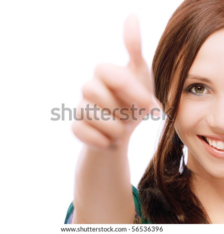Half face girl laughs and lifts up thumb, on white background.