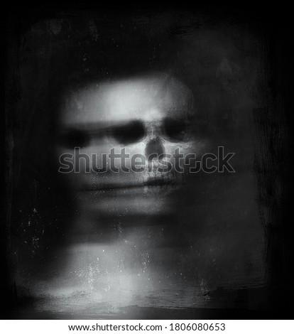 Half face half skull, Scary horror wallpaper with spooky Skull, Halloween illustration Stock photo ©