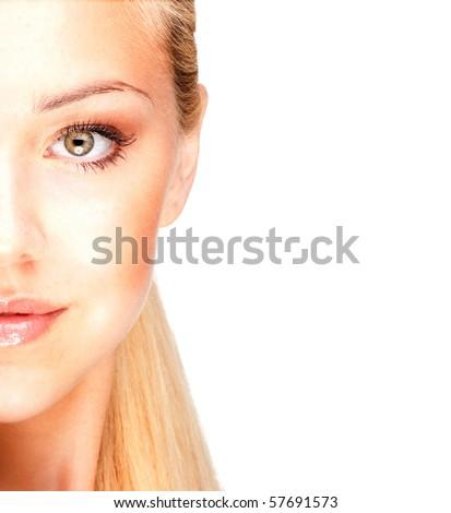 Half face of a beautiful blonde