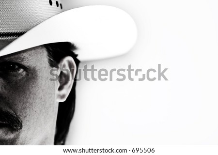 Half-face portrait of a cowboy in white hat against white background with shadow and light effect.