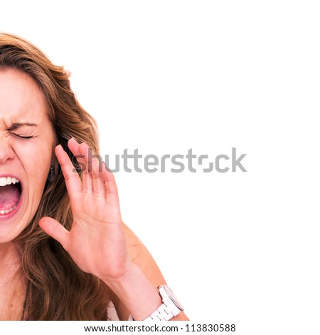 Half face portrait of a  woman screaming, isolated on white background - copy space