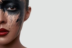 Half Face Portrait of Woman with creative Makeup
