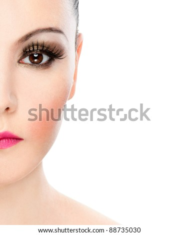 half face seductive young woman bright collected hair bare shoulders
