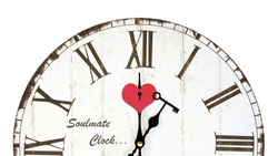 Half face wooden clock vintage style with designed heart key hole and key on clockwise in love concept