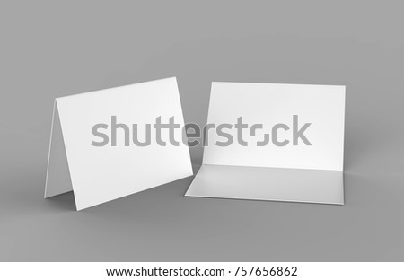 Half-fold horizontal brochure blank white template for mock up and presentation design. 3d illustration.
