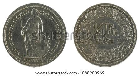 Half Franc (1/2 Franc), Switzerland 1970.