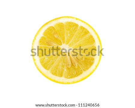 Half fresh lemon isolated on white background