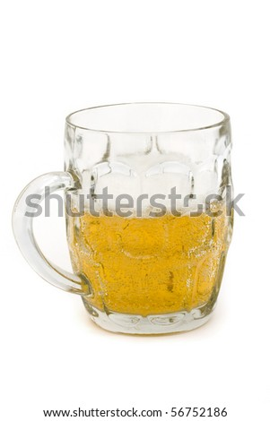 half full glass beer tankard on a white background