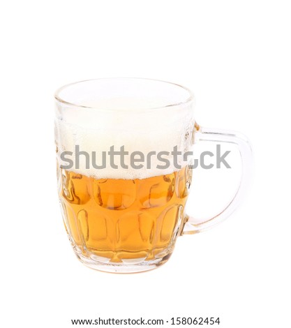 Half glass of light beer. Isolated on a white background