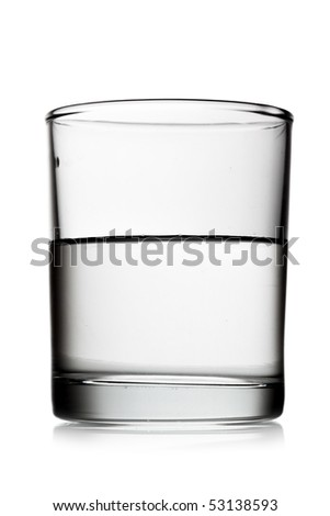 Half glass of water isolated over white background