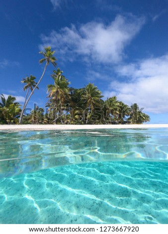 HALF IN HALF OUT: Cool view of the turquoise colored ocean water and the pristine tropical beach on a perfect summer day. Picturesque shot of a beautiful paradise island the tranquil crystal clear sea