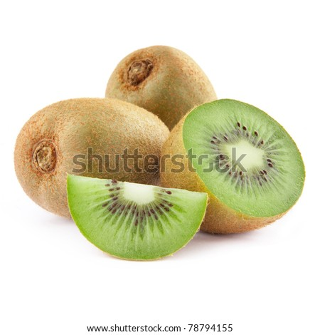 Half kiwi fruit isolated on white background