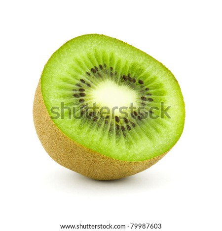half kiwi isolated on white