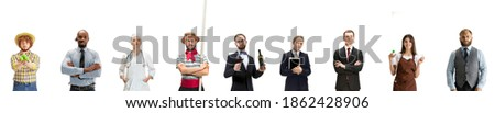 Half-length collage. Group of people with different professions isolated on white background, horizontal. Male and female models accountant, barmen, businessman, barmen, visagist looking at camera.