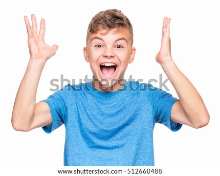 Half-length emotional portrait of caucasian teen boy wearing blue t-shirt. Surprised teenager looking at camera. Handsome happy child, isolated on white background. ストックフォト ©