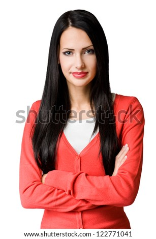 Half length portrait of a gorgeous young business woman in colorful outfit.