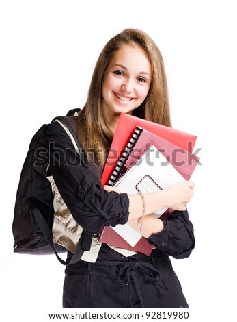 Half length portrait of a happy student girl isolated on white background. - stock photo