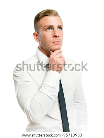 Half length portrait of a thoughtful young businessman on white.