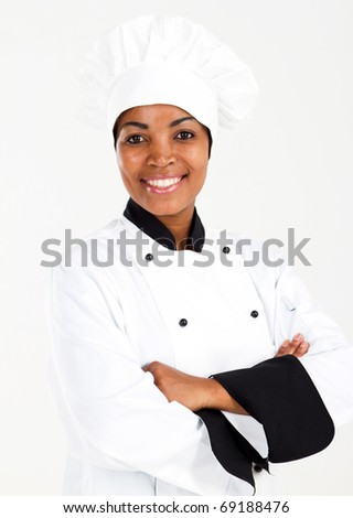 half length portrait of african american female chef over white