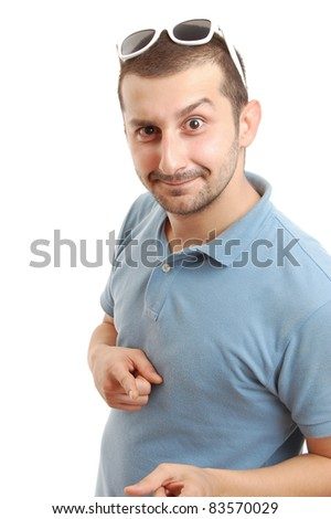 half length shot of a young man in yellow shirt, isolated on white