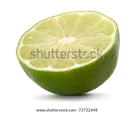 half lime over white background