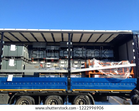 half loaded truck waiting for loading #1222996906