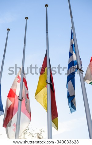 Half-mast flags in tribute to the victims of the attacks in Paris which left at least 129 people dead in front of Council of Europe building