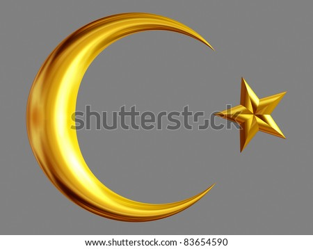 half moon and star in Gold, symbol of nations and the islam