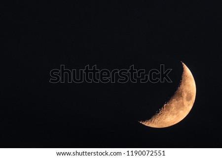 Half Moon close up. Astronomical body. Black deep cosmos space background. Copy space #1190072551