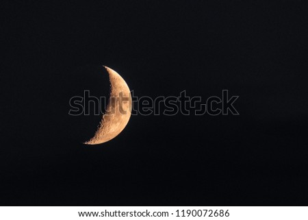 Half Moon close up. Astronomical body. Black deep cosmos space background. Copy space #1190072686